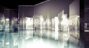 Office, 3d business room, Hall  building with light and reflects. Luxury, illustration of 3d image of empty wall for display, modern Royalty Free Stock Photo