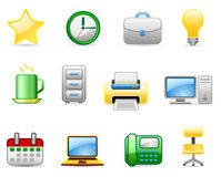 Office 5 icon set. Set of icons on an office 5 theme Royalty Free Stock Images