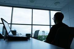 In office. Man silhouette for chair in office Royalty Free Stock Image