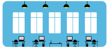 Office. Illustration of an office space with work desks Royalty Free Stock Images