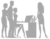 Office. Silhouettes of a group of people in office royalty free illustration