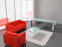 Office. Modern interior of the ofiice 3D Royalty Free Stock Photos