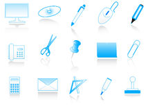 Office accessories. Illustration of office accessories, blue Stock Photography
