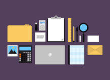 Office accessories flat icons set Stock Photo