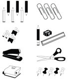 Office accessories icon set in  black and white Royalty Free Stock Image