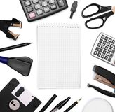 Office accessories and notebook. Royalty Free Stock Photography
