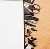 Office accessories and notebook . Stock Photos