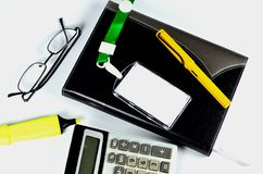 Office accessories on white. Background Royalty Free Stock Photography