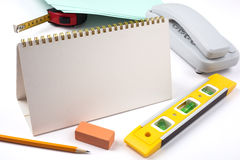 Office accessories and yellow level Stock Images