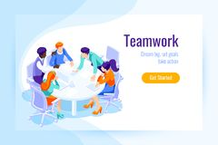 Office achieve goal landing page. Office achieve goal, male display office landing page. Office situations for web banner, infographics, hero images. Flat Stock Images
