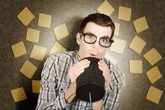 Office admin geek announcing memo when note taking Royalty Free Stock Image