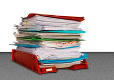 Office administration in-tray aka in tray isolated over white royalty free stock photo