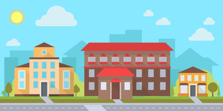 Office or administrative buildings. Street with office or administrative buildings, outdoor cartoon architecture set, vector illustration Royalty Free Stock Images