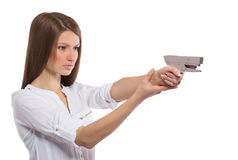 """Office amazon. Office lady """"firing a gun"""" with a stapler Stock Photography"""