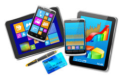 Office And Home Tablet Computers, Mobile Phones Of Different Gen Royalty Free Stock Photography