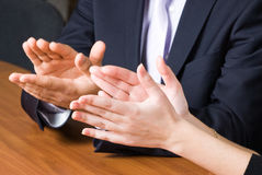 Office applause. Businessman applause in office after business presentation royalty free stock photo