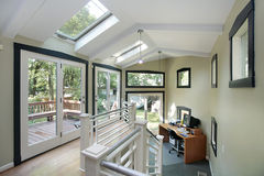 Office area wtih skylights. Office area with skylights and patio view Royalty Free Stock Photography