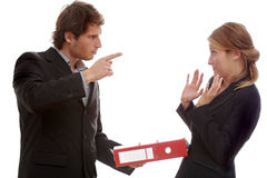 Office argument, boss and worker. On isolated background stock image