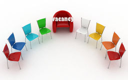 Office arm-chair of chief with vacant sign at work place Royalty Free Stock Photography