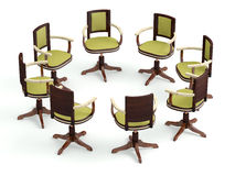 Office armchairs in circle Royalty Free Stock Photo