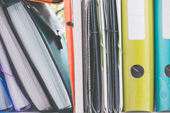 Office articles / folders. View of the Office articles / folders Stock Photos