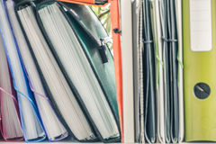 Office articles / folders. View of the Office articles / folders Royalty Free Stock Photos