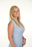 Office assistant in blue dress Royalty Free Stock Photos