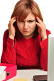 Office assistant in a red blouse Royalty Free Stock Photo