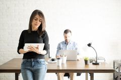Office assistant with a tablet Royalty Free Stock Photos