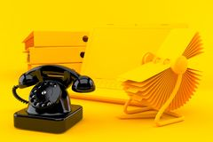 Office background with telephone. In orange color Stock Photography