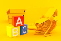 Office background with toy blocks. In orange color Stock Photo
