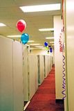 Office balloons. Office cubicles decorated with balloons - a bonus day royalty free stock photo