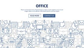 Office Banner Design. Vector Illustration of Line Web Concept Stock Photography