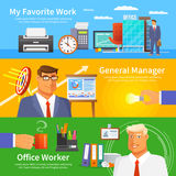 Office Banner Set. Office horizontal banner set with work items and worker avatars flat  vector illustration Stock Photo