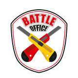 Office battle emblem. Two crossed stationery knife. Logo for cor Stock Photo