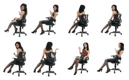 Office Beauty Is Sitting In Chair  Isolated Stock Photography