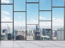 Office with big window. With view to city, 3d render Stock Photography