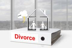 Office binder house divided divorce family thunderstorm Royalty Free Stock Images