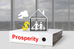 Office binder prosperity house family dollar symbol Royalty Free Stock Image