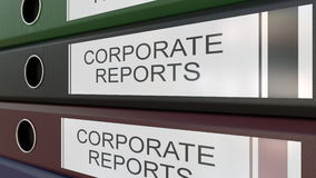 Office binders with Corporate reports tags 3D rendering Stock Photos