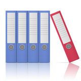 Office binders - five in row. Office binders, standing five in row, in different colors, on white background. Vector illustration. EPS10 Royalty Free Stock Photography