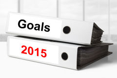 Office binders goals 2015. Stack of two white office binders goals 2015 royalty free stock images