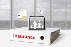 Office binders home insurance family storm Royalty Free Stock Images