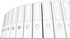 Office binders, low angle view. 3D rendering. Office binders low angle view. 3D Royalty Free Stock Photo