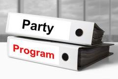 Office binders party program Stock Photo