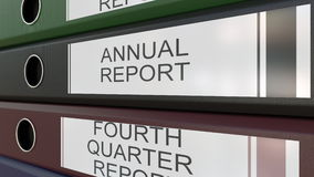 Office binders with Quarter and annual reports tags 3D rendering Stock Image