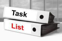 Office binders task list Stock Photo