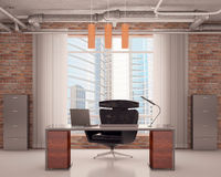 Office with a black chair Stock Images