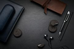 Office black leather desk table Top view with copy space Stock Images