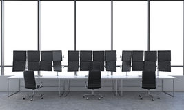 Office with 24 black monitors, processing data, trading, new yor Stock Images
